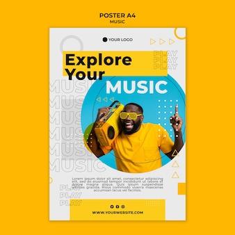 Man luisteren naar muziek poster sjabloon