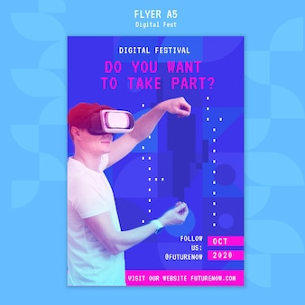 Man met behulp van een flyer-sjabloon voor virtual reality headset