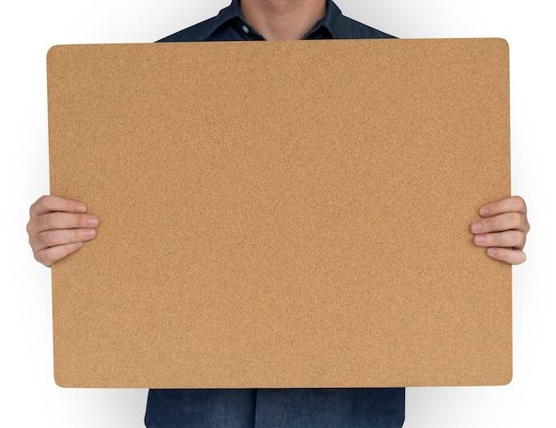 Man met cork board kopiëren space concept