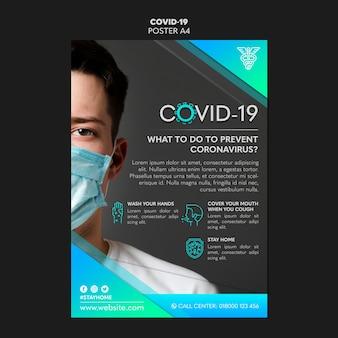 Man met een masker covid-19 poster sjabloon