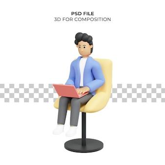 Man met krullend haar aan het werk zittend op een stoel met behulp van laptop freelancer 3d illustratie premium psd