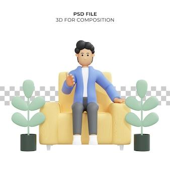 Man met krullend haar zit op stoel 3d-rendering 3d karakter 3d illustratie premium psd