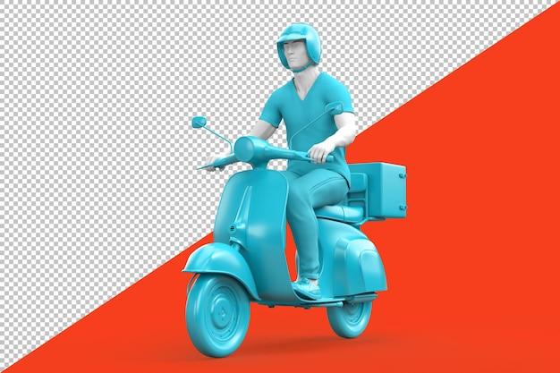 Man rijden vintage scooter