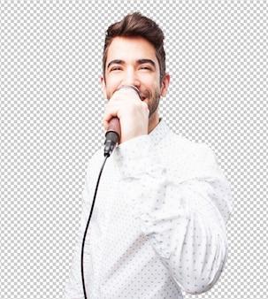 Man zingt met microfoon