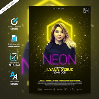 Manifesto creativo di neon night night fun e dj night model neon flyer