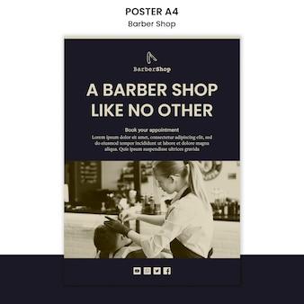 Manifesto del modello del negozio di barbiere con l'immagine