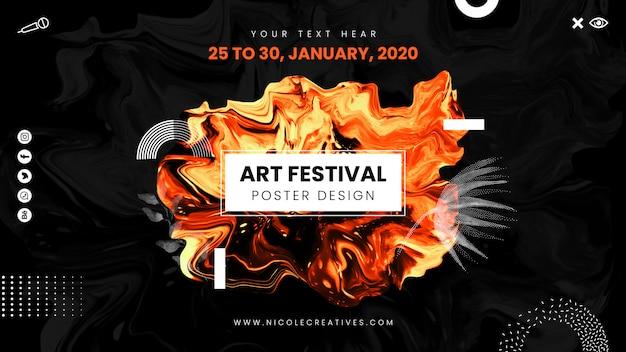 Manifesto di festival di arte di colore caldo con disegno astratto liquido.