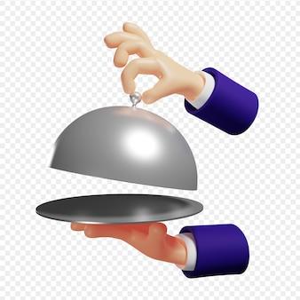 La mano 3d abre la tapa del plato sirve platos calientes aislados ilustración 3d