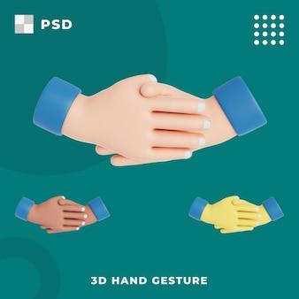 Mano 3d con gestur de apretón de manos