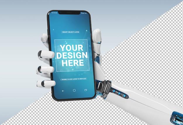 Mano blanca aislada del robot que sostiene la maqueta moderna del smartphone