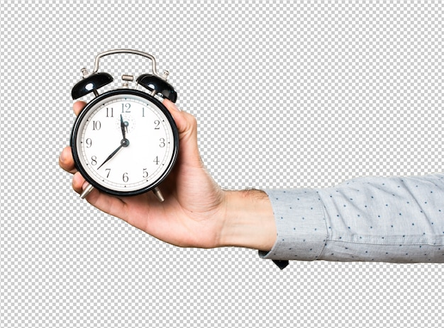 Mano dell'uomo che tiene orologio vintage