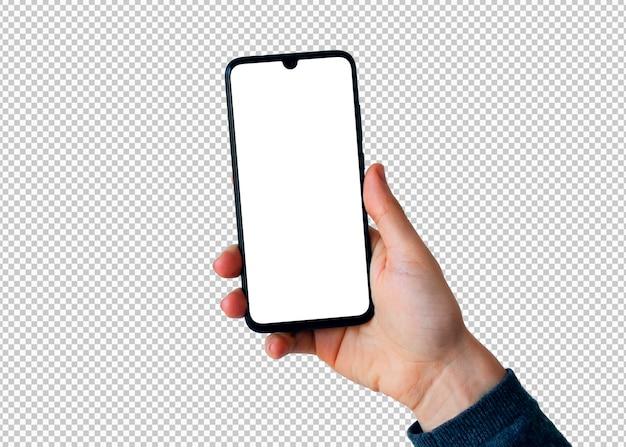 Mano derecha aislada con smartphone