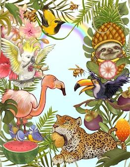Mano dibujar bosque y animal