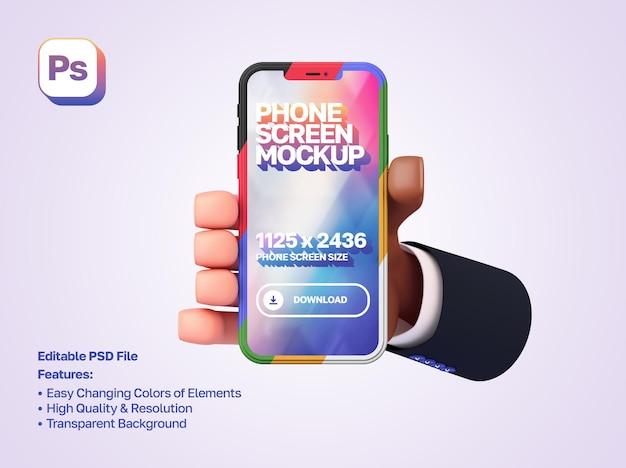 La mano de dibujos animados en 3d de la maqueta con una manga sostiene y muestra el teléfono inteligente en orientación vertical