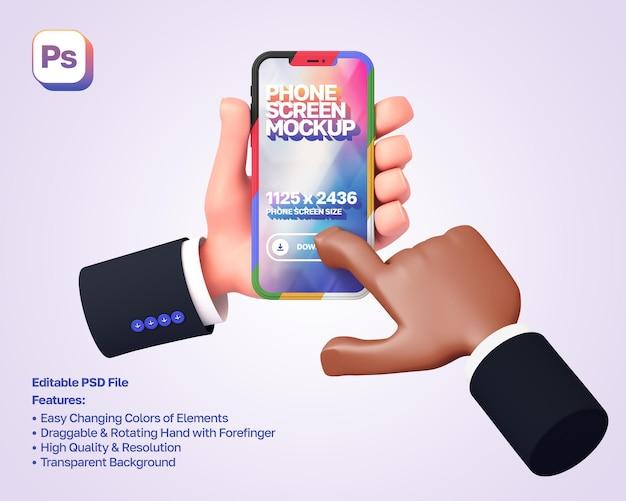 La mano de dibujos animados en 3d de la maqueta sostiene y muestra el teléfono en orientación vertical, la otra mano lo presiona