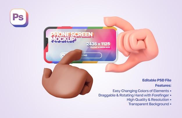 La mano de dibujos animados en 3d de la maqueta sostiene un teléfono inteligente en orientación horizontal, la otra mano presiona sobre él