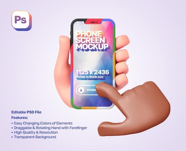 La mano de dibujos animados en 3d de la maqueta sostiene un teléfono inteligente en orientación vertical, la otra mano presiona sobre él