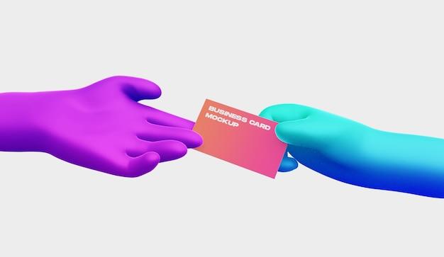 Mano de dibujos animados 3d con maqueta de tarjeta de visita