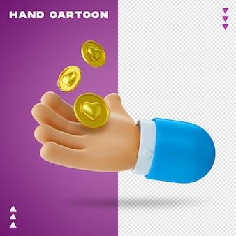 Mano de dibujos animados en render 3d