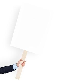 Mano humana sosteniendo banner copia espacio