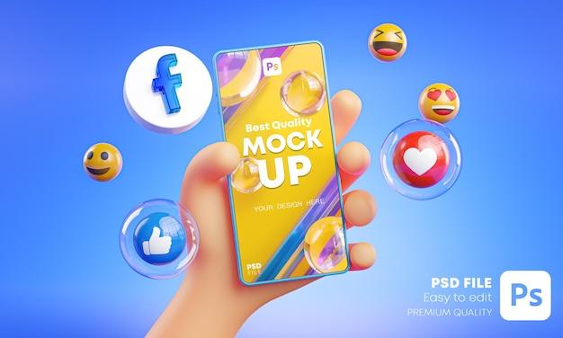 Mano linda que sostiene los iconos de facebook del teléfono alrededor de la maqueta de renderizado 3d