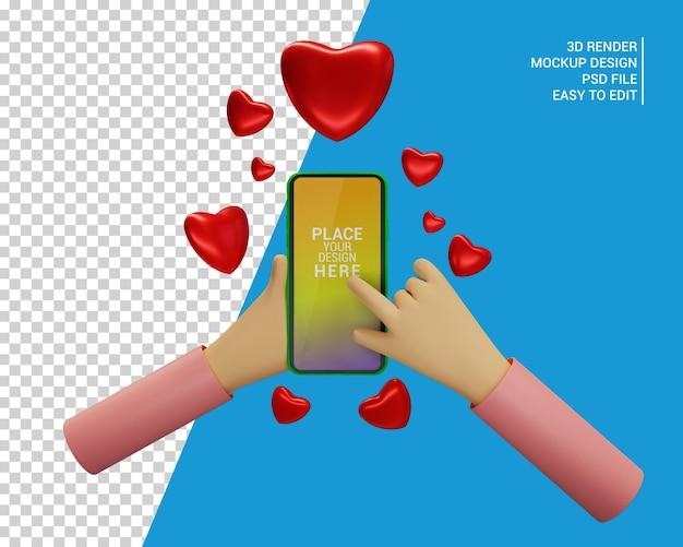 Mano de maqueta 3d sosteniendo un teléfono con el símbolo de emoji de corazón
