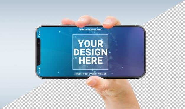 Mano de mujer sosteniendo maqueta de smartphone moderno
