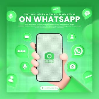 Mano que sostiene los iconos de whatsapp del teléfono alrededor de la maqueta de representación 3d para la plantilla de publicación de whatsapp de promoción