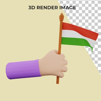 Mano de renderizado 3d con el concepto del día nacional de hungría