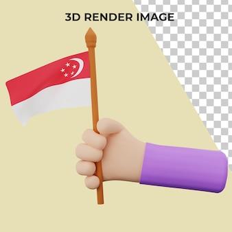 Mano de renderizado 3d con concepto de día nacional de singapur