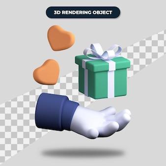 Mano de renderizado 3d dando caja de regalo con corazones dulces