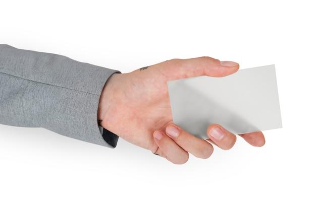 Mano sosteniendo la tarjeta de visita en blanco