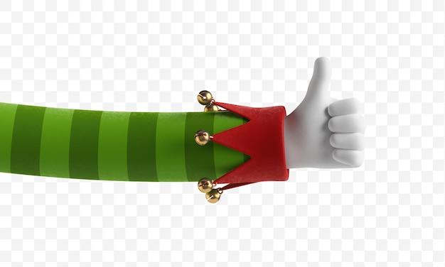 Manos de elfo navideño el dedo muestra la dirección con el pulgar hacia arriba como gesto