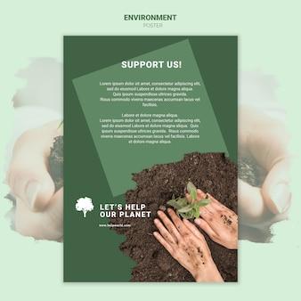 Las manos plantan una plántula en la plantilla de póster de tierra
