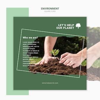 Manos plantando nuevas plantillas de póster cuadrado de plántulas