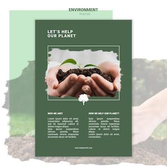 Manos sosteniendo tierra con plantilla de cartel de planta