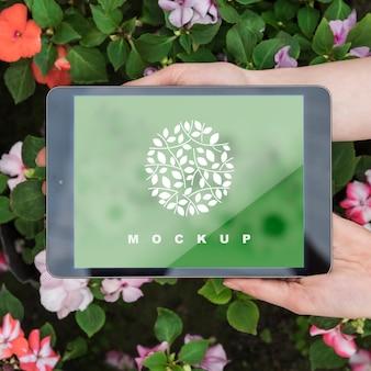 Manos sujetando mockup de tableta con concepto de jardinería