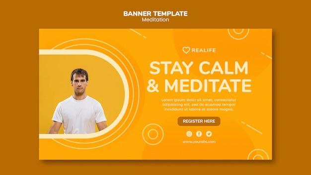 Mantener la calma y meditar plantilla de banner