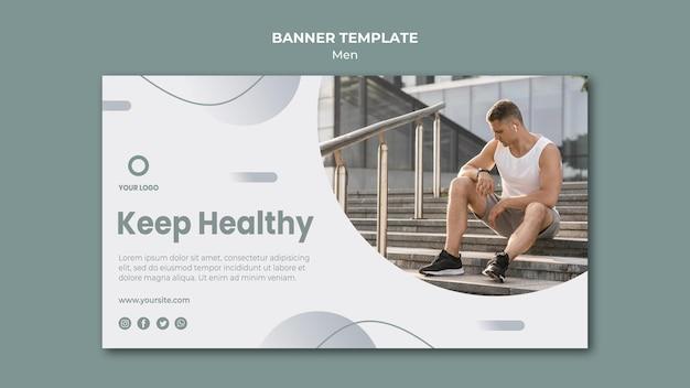 Mantener la salud haciendo deporte plantilla de banner