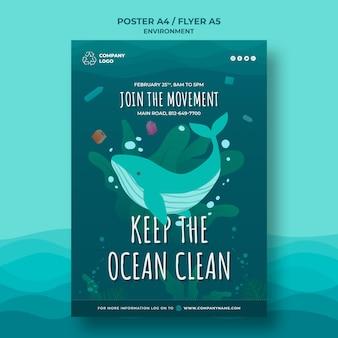 Mantenga el océano limpio plantilla de póster con ballena