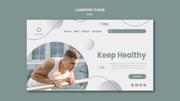 Mantenga la página de inicio del concepto saludable