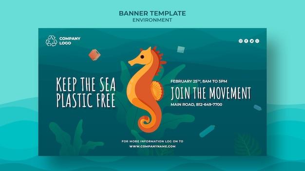 Mantenga la plantilla de banner limpia del océano con caballito de mar