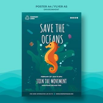 Mantenga la plantilla de póster limpio del océano con caballito de mar