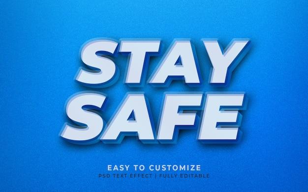 Manténgase seguro quédese en casa maqueta de efecto de estilo de texto en 3d