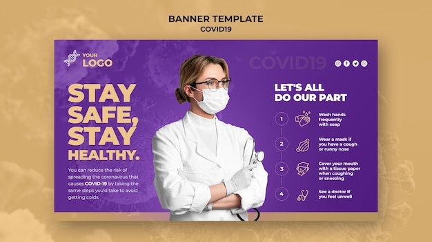 Manténgase seguro y saludable plantilla de banner covid-19