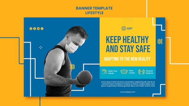 Mantente saludable plantilla de banner