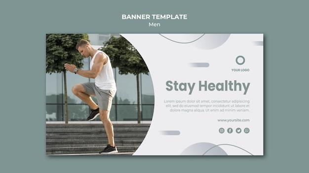 Mantente saludable plantilla web de banner
