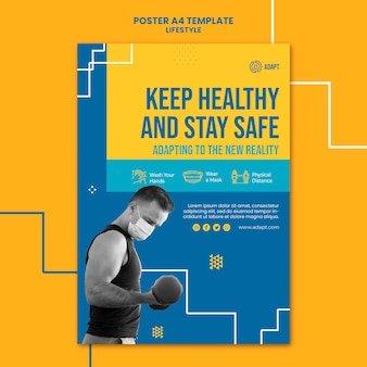 Mantente seguro plantilla de póster
