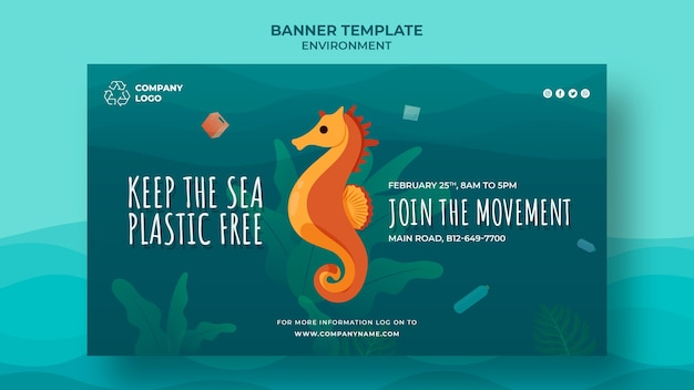 Mantieni il modello di banner pulito sull'oceano con cavalluccio marino