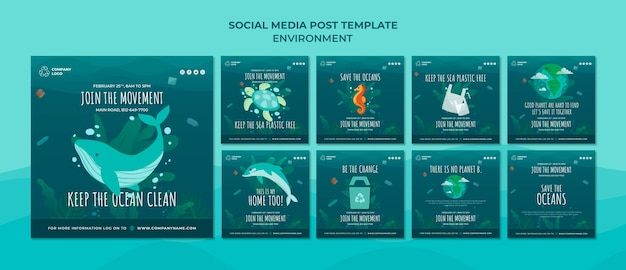 Mantieni pulito l'oceano modello di post sui social media